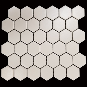 "2"" x 2"" White Hexagon Mosaic"