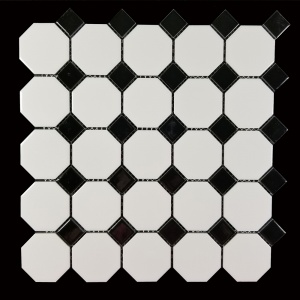 "2"" x 2"" White Octagon with Black Square Mosaic"