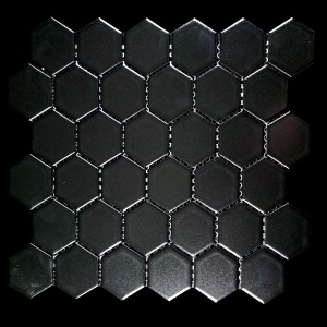"2"" x 2"" Black Hexagon Mosaic"
